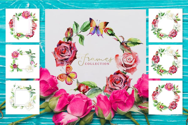 Wonderful watercolor red roses PNG Digital