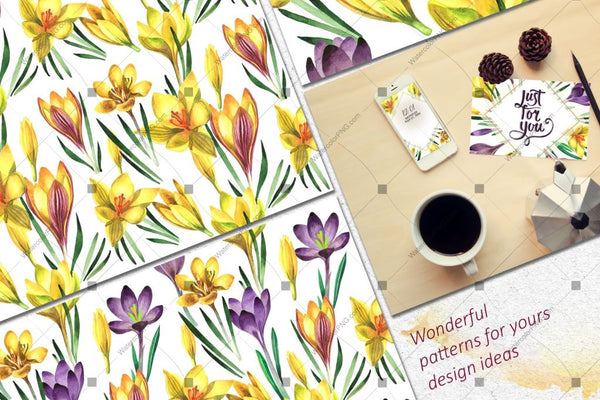 Yellow Crocuses Png Watercolor Flower Set Digital