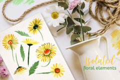 Kuning Daisy Watercolor png Digital