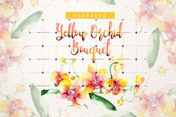 Yellow Orchid Bouquet Png Watercolor Design Set Digital