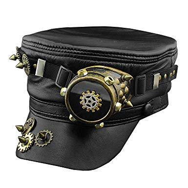 Steampunk Gear One Goggle Black Hat
