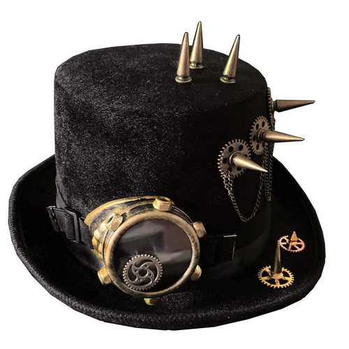 Faux Leather Spiky Steampunk Hat - Frontier Punk