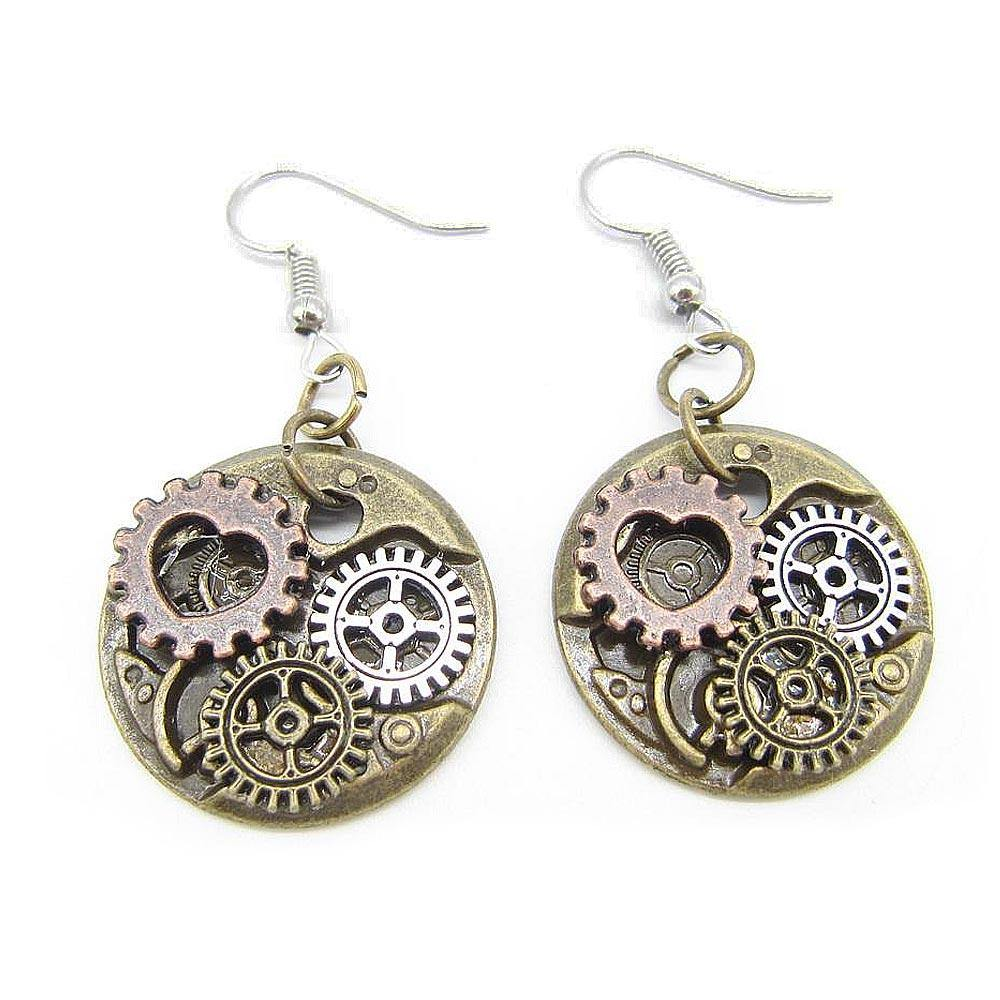 Round Steampunk Gears Earrings - Frontier Punk