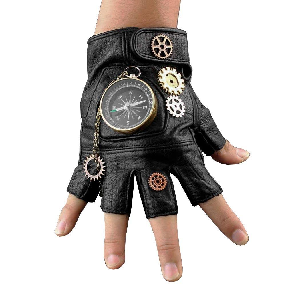 Steampunk Compass Gears Fingerless Real Leather Gloves - Frontier Punk