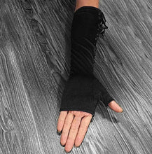 Long Sexy Lace-Up Fingerless Gloves - Frontier Punk