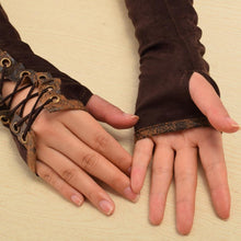 Retro Steampunk Armband Tie-Up Brown Gloves - Frontier Punk