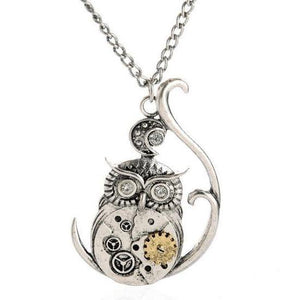 Steampunk Gears Owl Pendant Necklace - Frontier Punk