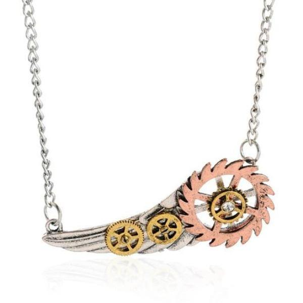 Steampunk Jigsaw Gear Wing Pendant Necklace - Frontier Punk