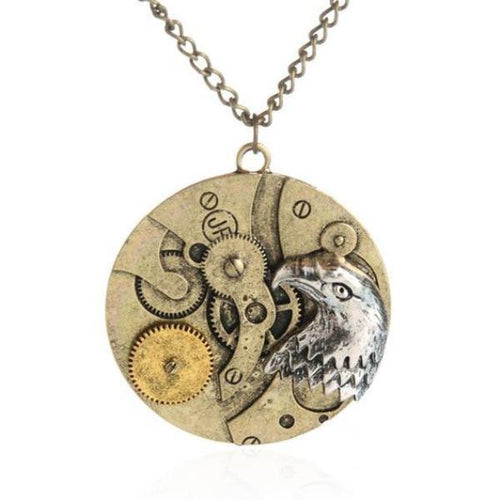 Steampunk Eagle Mechanism Pendant Necklace - Frontier Punk