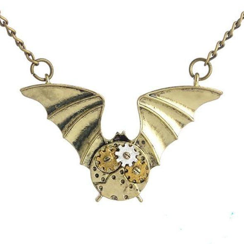 Steampunk Gears Bat Pendant Necklace - Frontier Punk