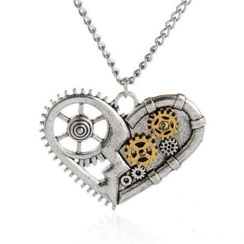 Steampunk Gears Heart Pendant Necklace - Frontier Punk