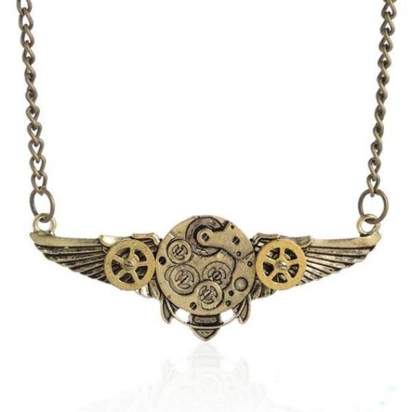 Steampunk Gear Wings Pendant Necklace - Frontier Punk