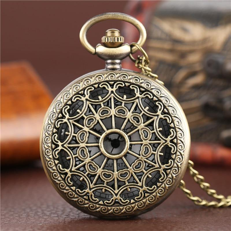 Hollow Spiderweb Steampunk Pocket Watch on Chain - Frontier Punk