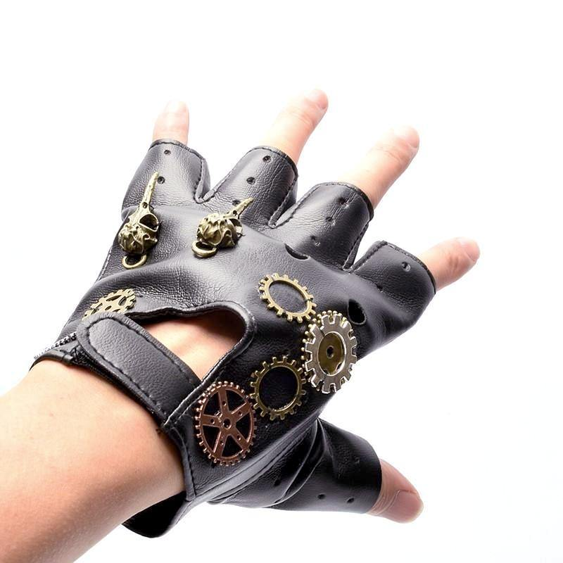 Steampunk Gear PU Gloves - Frontier Punk