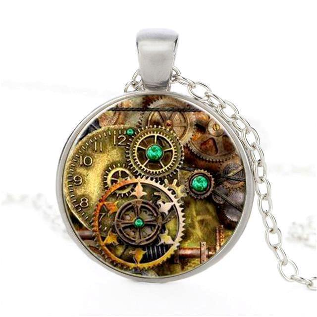 Retro Gears in Crystal Glass Pendant Necklace - Frontier Punk