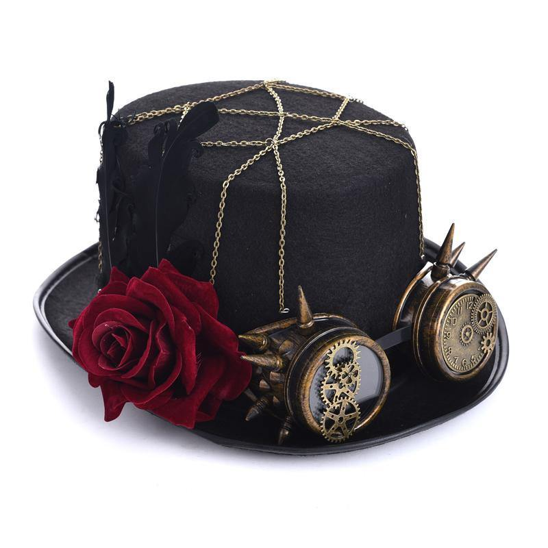 Steampunk Retro Rose Gear Hat - Frontier Punk