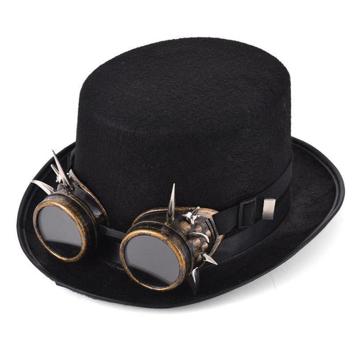 Steampunk Retro Spiky Goggles Hat - Frontier Punk