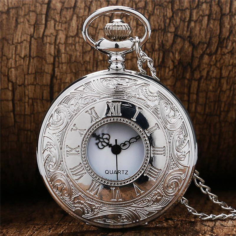 Vintage Silver Steampunk Pocket Watch on Chain - Frontier Punk