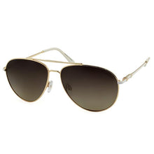 ladies white and gold aviator sunglass