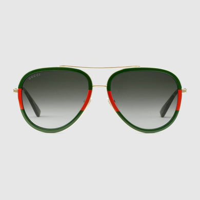 Gucci gold red green aviator sunglass