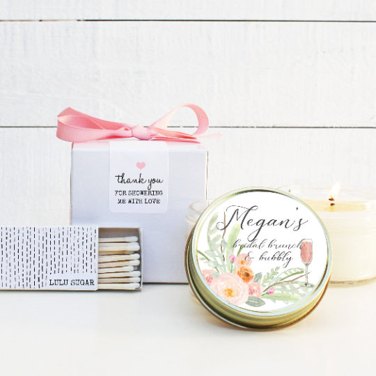 Bridal Shower Favor Candles - Bridal Brunch and Bubbly Design