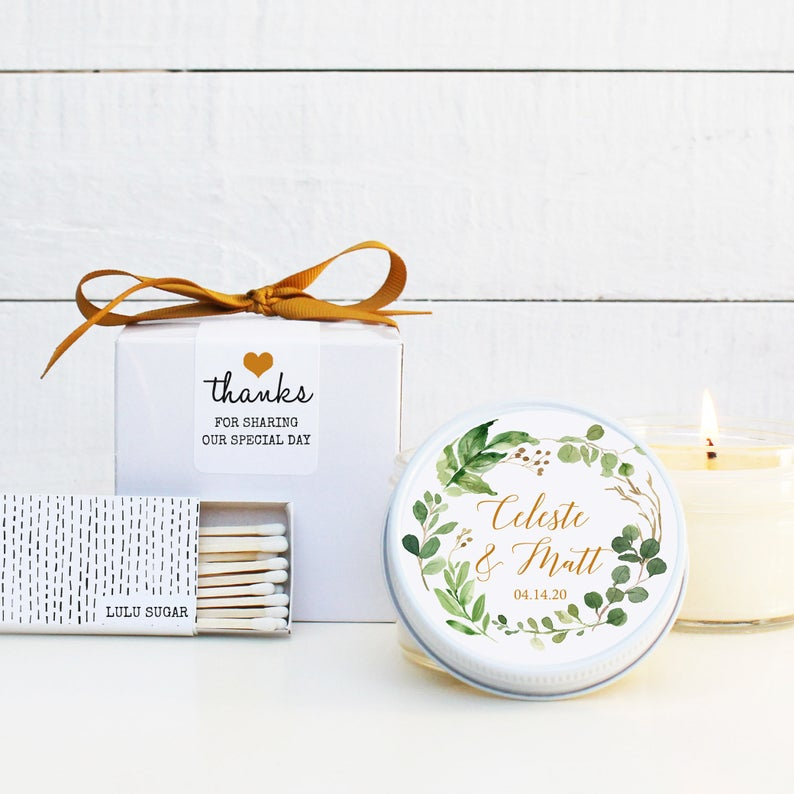 Wedding Favor Candles - Botanical Design