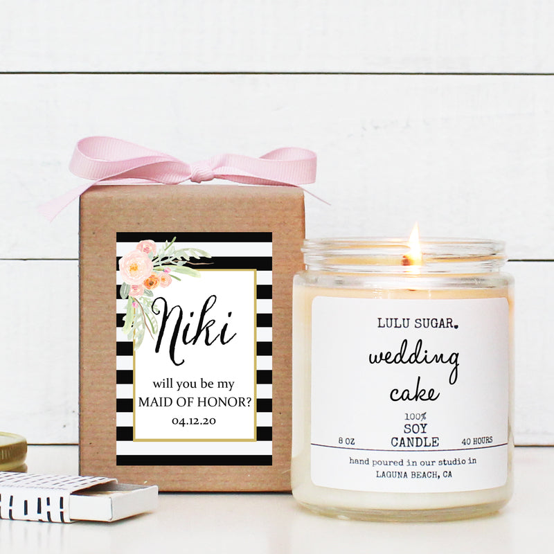 Bridal Party Proposal Gift - Niki Design - Soy Candle