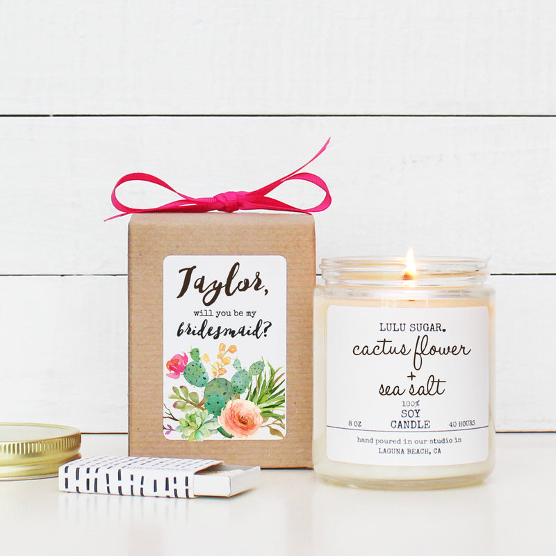 Bridal Party Proposal Gift - Cactus Flower Design - Soy Candle