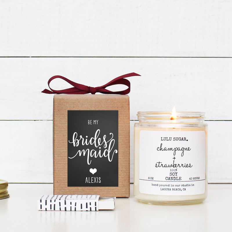 Bridal Party Proposal Gift - Chalkboard Heart Design - Soy Candle