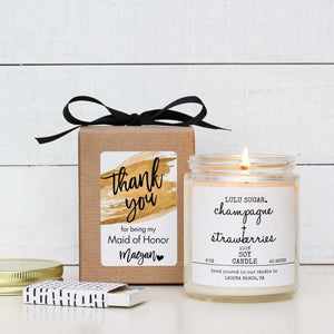 Bridal Party Proposal Gift - Gold Label Design - Soy Candle