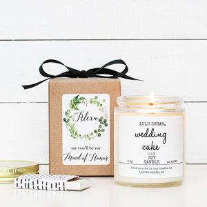 Bridal Party Proposal Gift - Botanical Greenery Design - Soy Candle