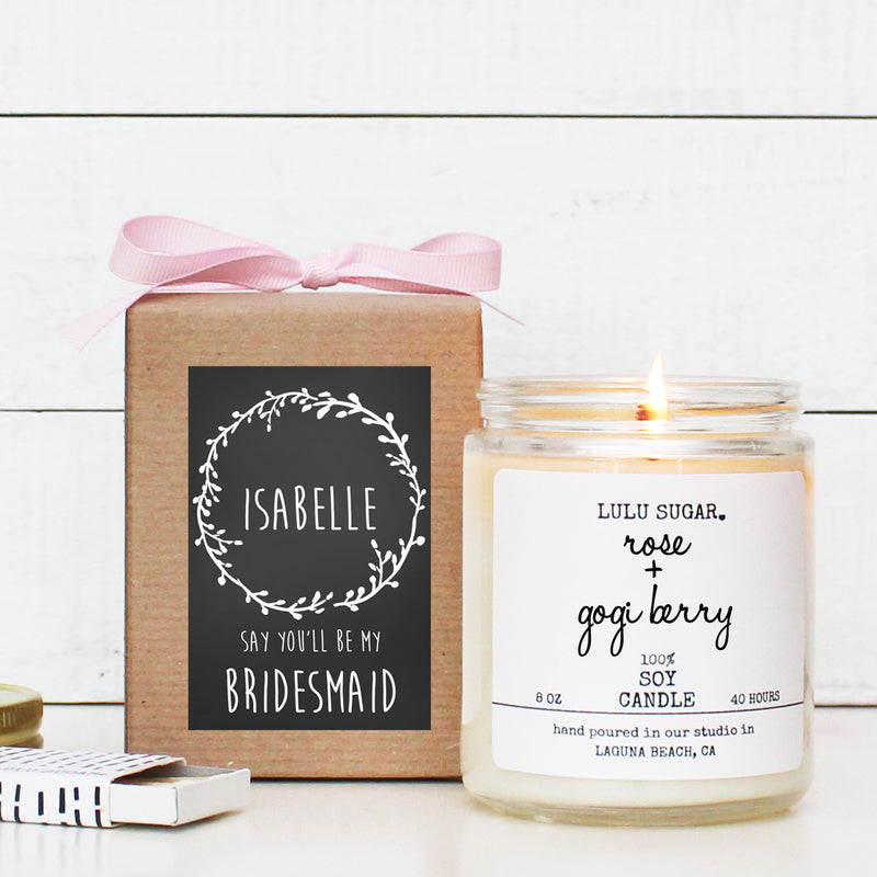 Bridal Party Proposal Gift - Laurel Chalkboard Design - Soy Candle