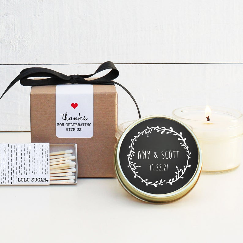 Wedding Favor Candles - Chalkboard Design