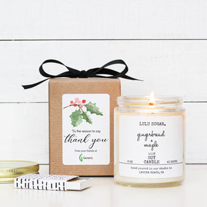 Corporate Holiday Gift with Logo - Soy Candle Gift