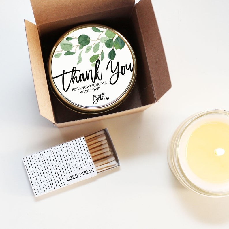 Bridal Shower Favor Candles - Eucalyptus Design