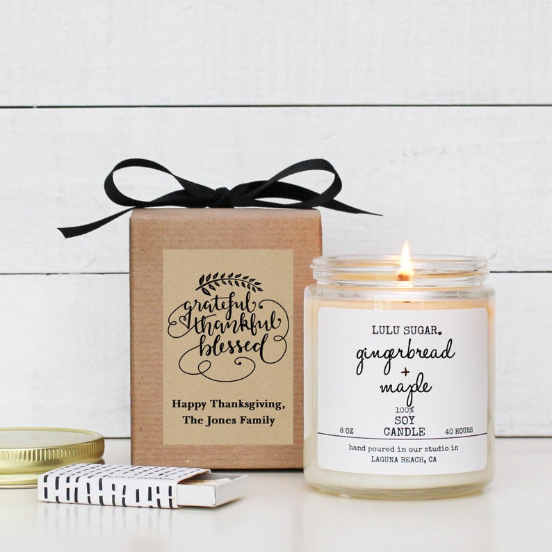 Grateful Thankful Blessed Holiday Candle Gift