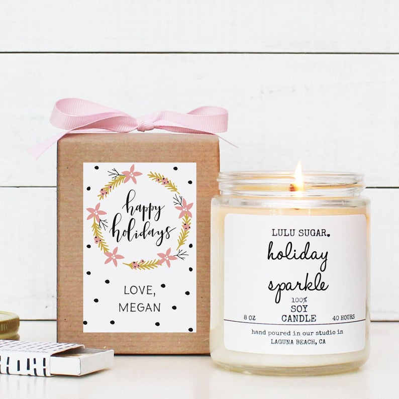 Happy Holidays Holiday Candle Gift