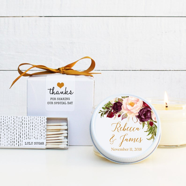 Wedding Favor Candles - Marsala Design