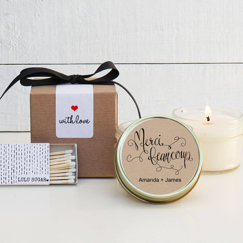 Wedding Favor Candles - Merci Beacoup Design