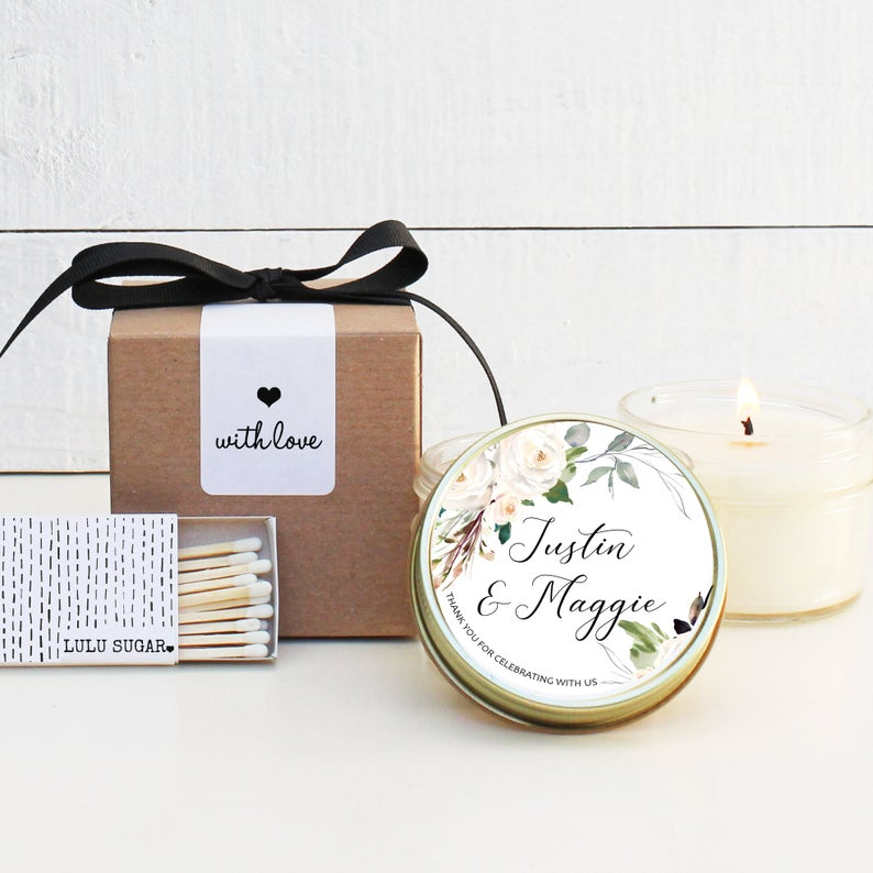 Wedding Favor Candles - Neutral Floral Design