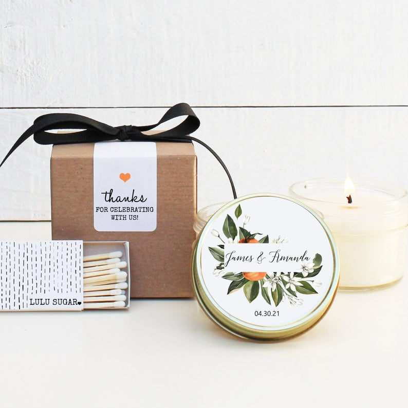 Wedding Favor Candles - Orange Floral Design