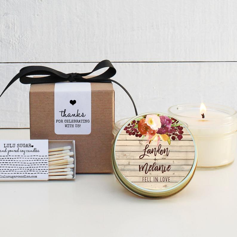 Wedding Favor Candles - Rustic Fall Design