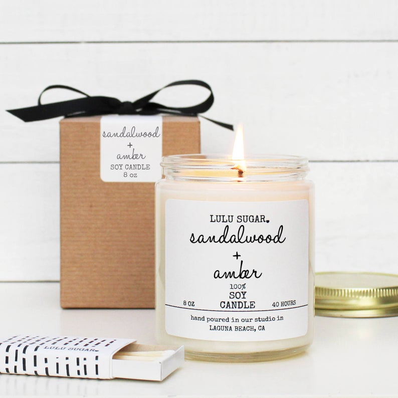 Sandalwood + Amber 8 oz Candle