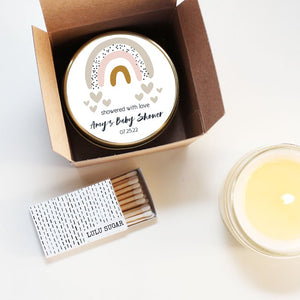 Bridal Shower Favor Candles - Showered With Love Design