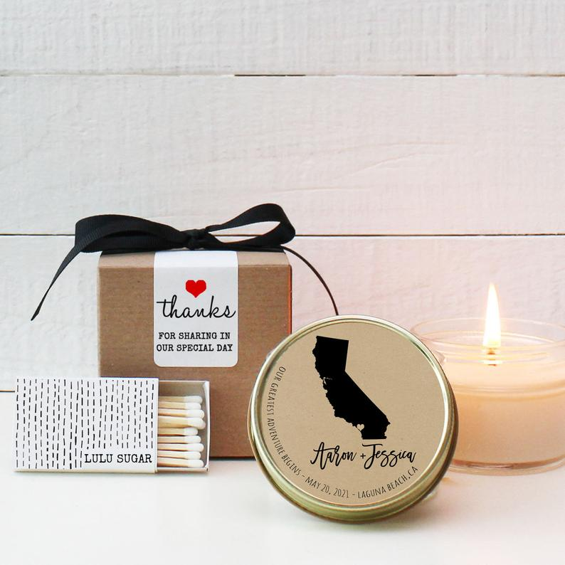 Wedding Favor Candles - State Design