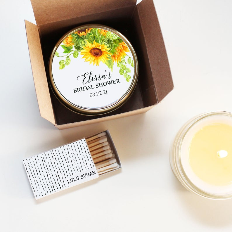 Bridal Shower Favor Candles - Sunflower Design