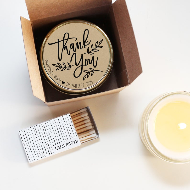 Wedding Favor Candles - Thank You Design