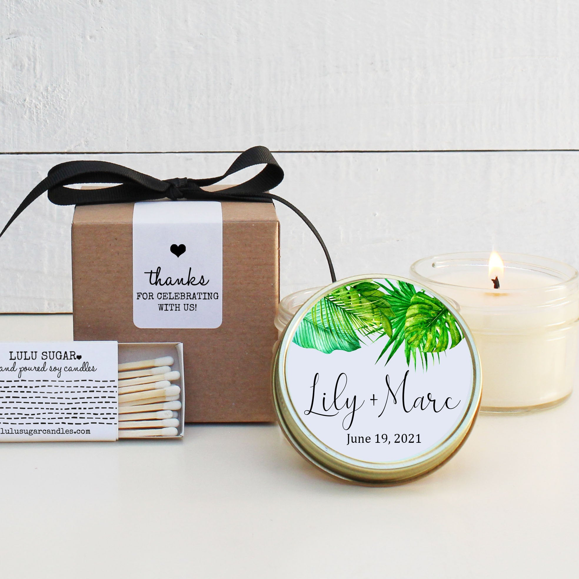Wedding Favor Candles - Tropical Design