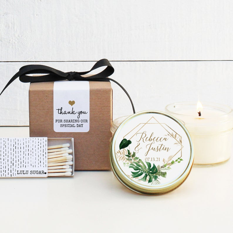 Wedding Favor Candles - Tropical Leaves Design