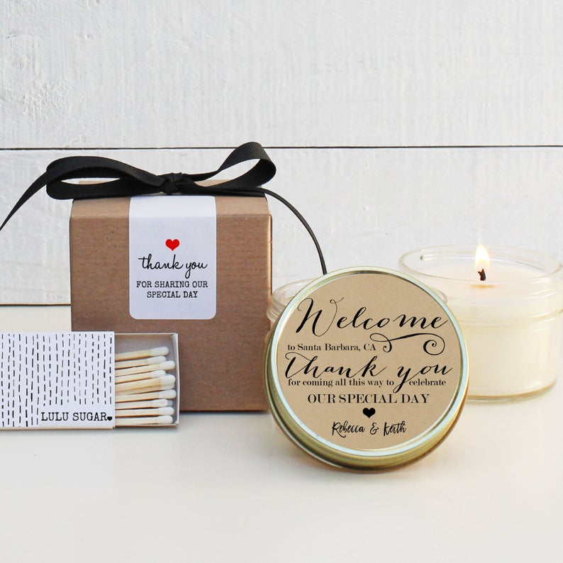 Wedding Favor Candles - Welcome Design